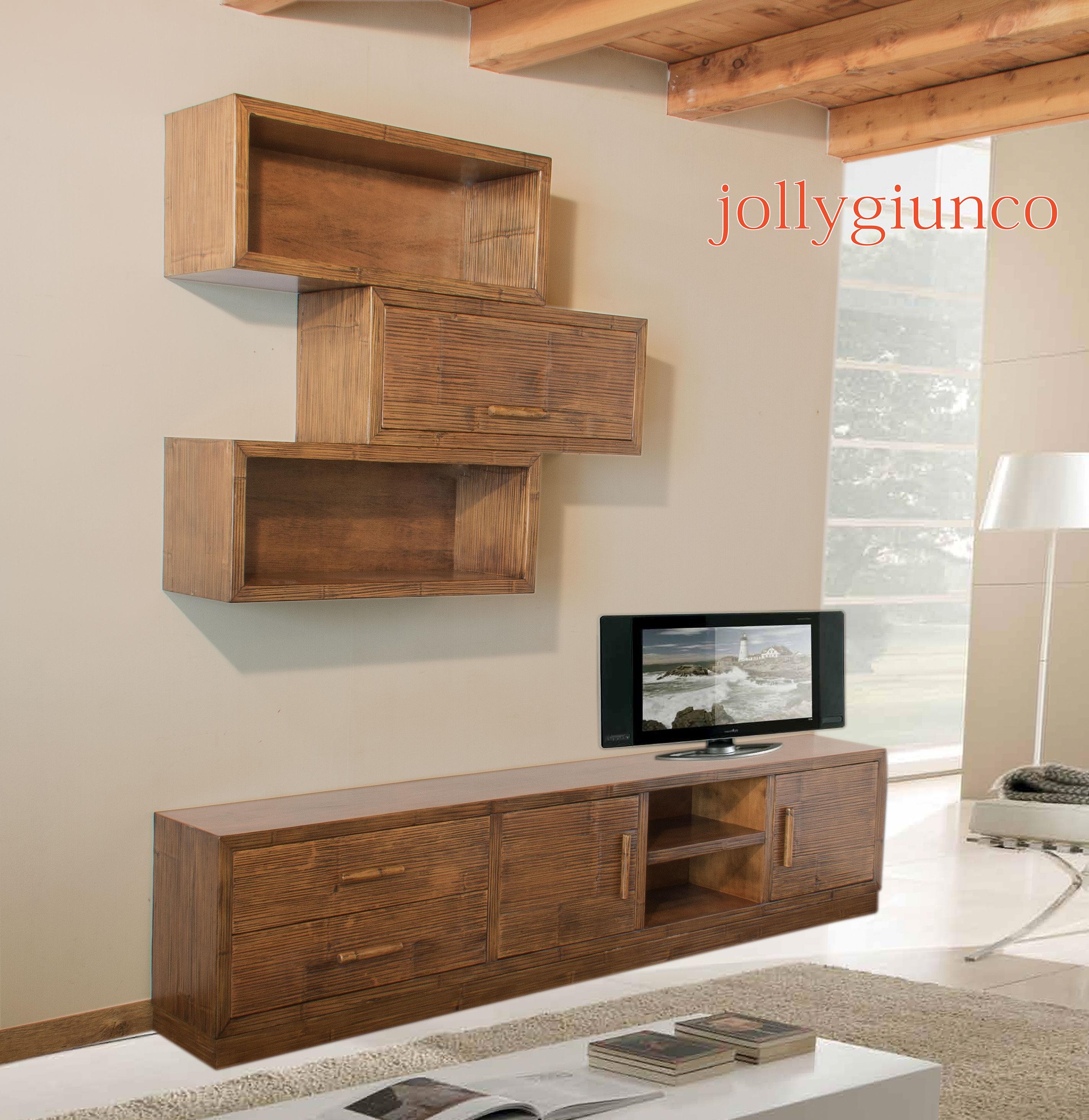 Produzione soggiorno in crash bamb e legno for Mobile porta tv legno grezzo