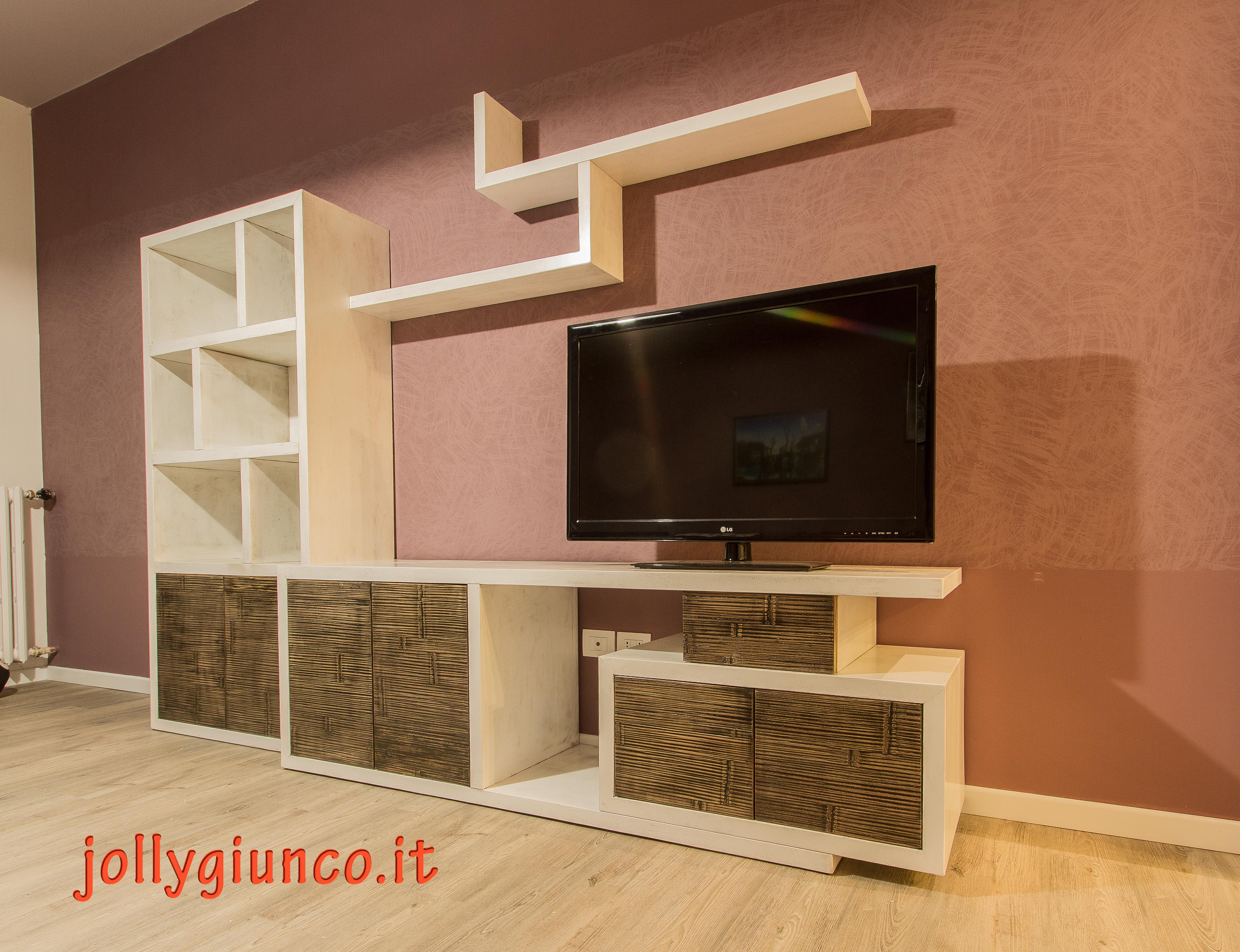 Mobile Dietro Al Divano produzione soggiorno in crash bambù e legno.